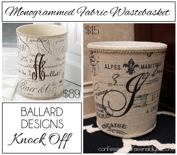 Monogrammed Fabric Wastebasket {a Ballard Designs Knock off}