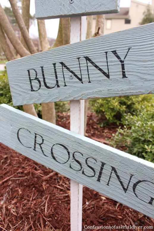 Bunny Crossing Sign with Old Fence Pickets