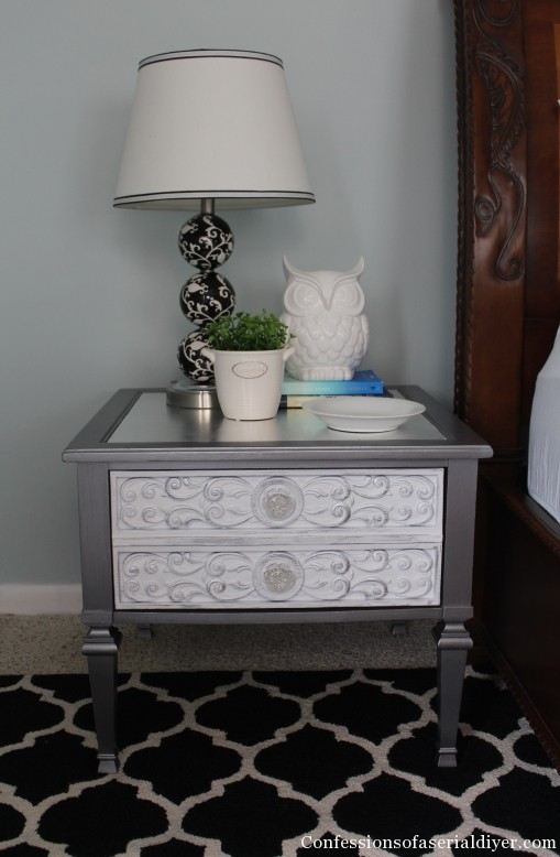 Glam Side Table with Silver Leafed Top