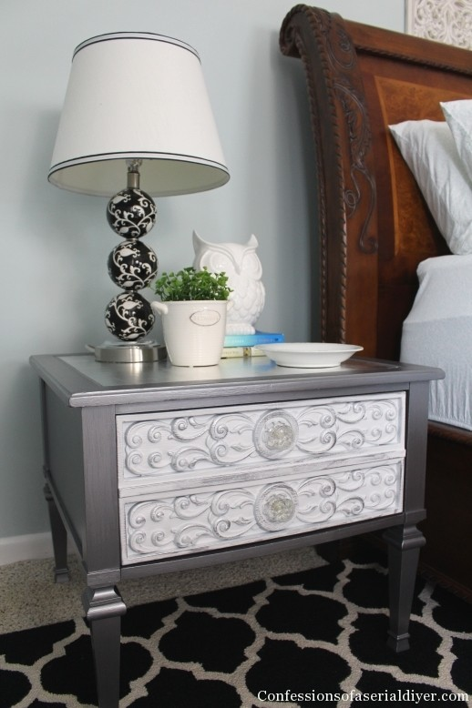 Glam Side Table with Silver Leaf Top