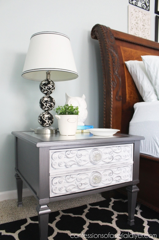 Thrift store throw away gets a glam makeover with silver leafing and metallic paint.