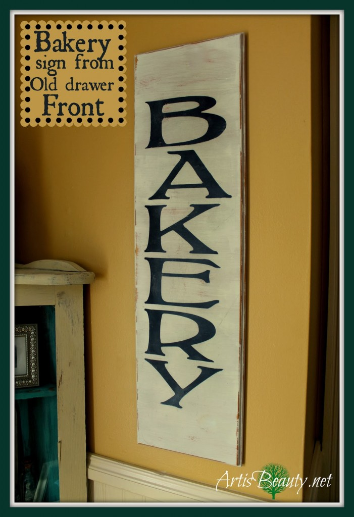 Vintage Bakery Sign from an Old Drawer Front via Art is Beauty