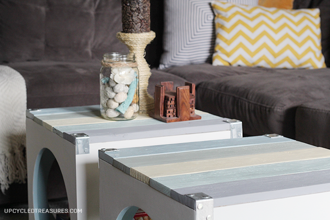 Beach Inspired Pallet Coffee Table via Upcycled Treasures