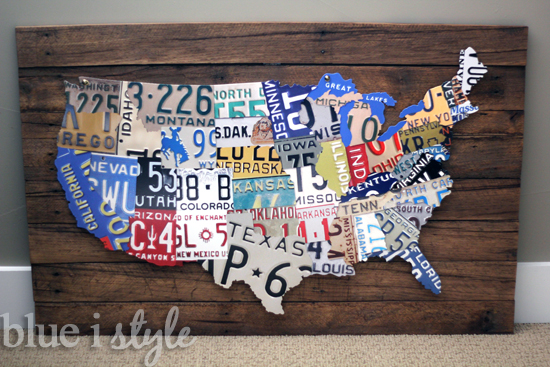 License Plate Map on Reclaimed Wood via Blue I Style