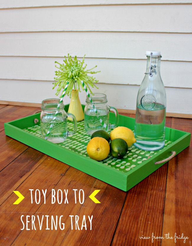 Upcycle Toy Bin to Serving Tray via View from the Fridge