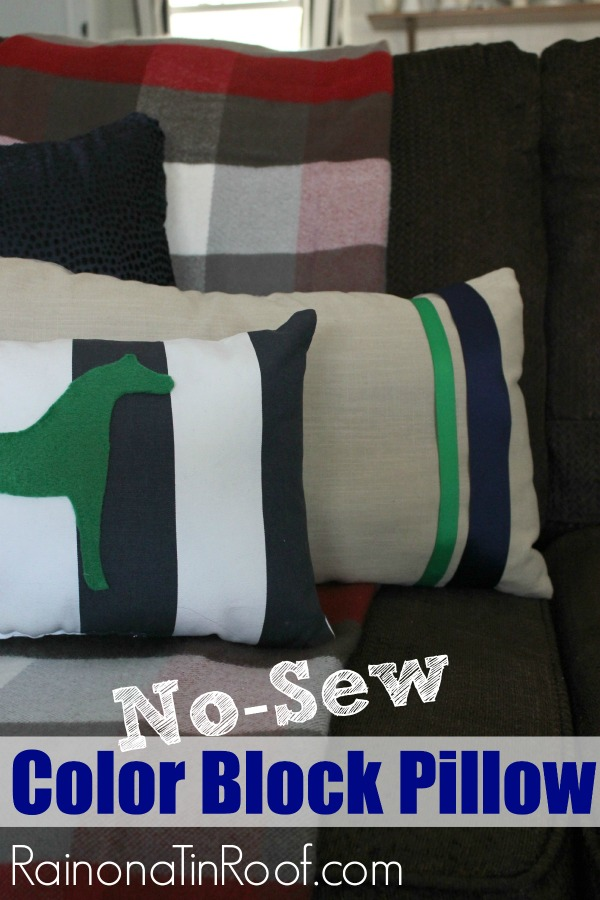 No-Sew Color Block PIllows via Rain on a Tin Roof
