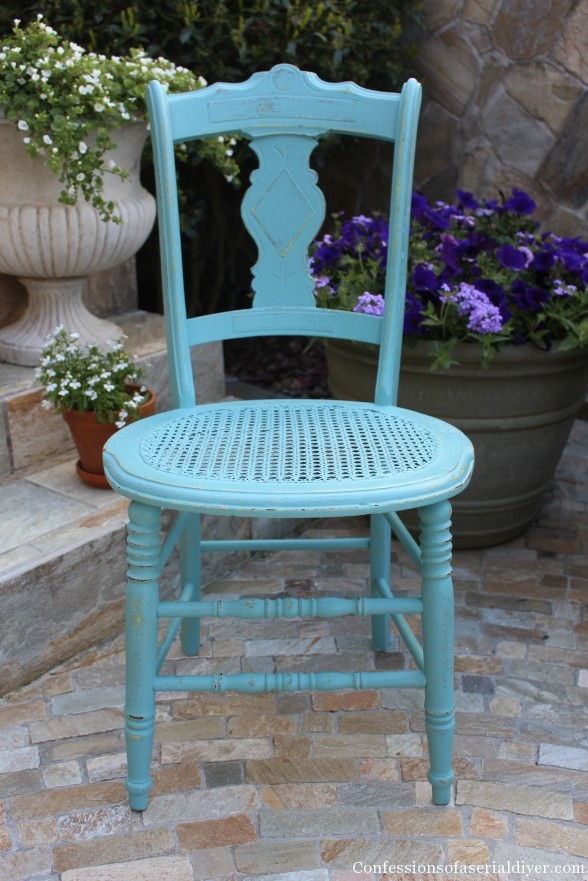 Chair Makeover in ASCP Provence Blue. Come find Beachy Turquoise Decor Inspiration to float your boat! #turquoise #decorinspiration #provenceblue #anniesloan