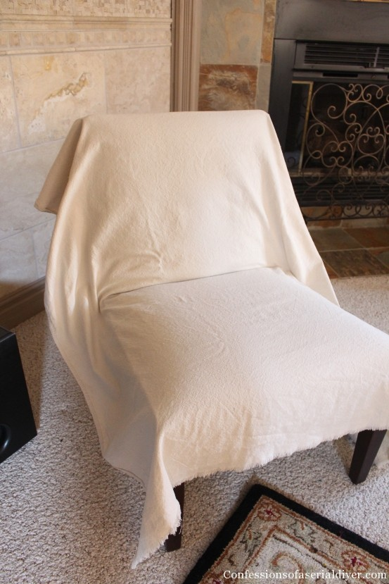 Attractive Slip Covering An Armless Accent Chair