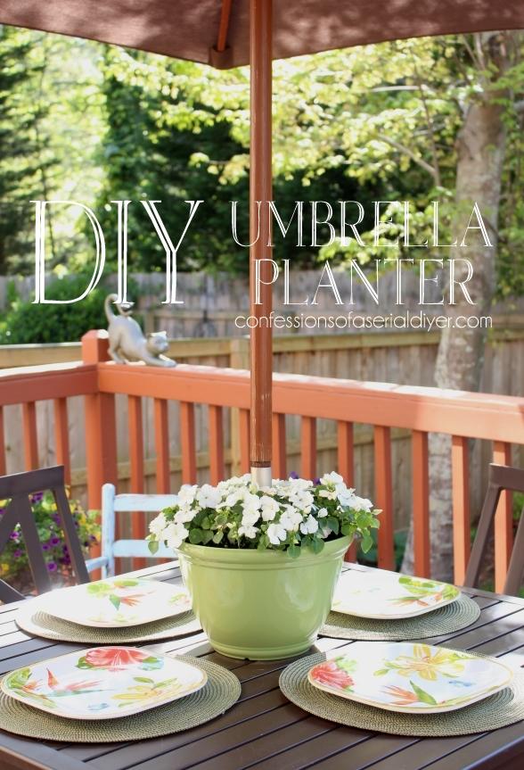 DIY Umbrella Planter. Super easy!
