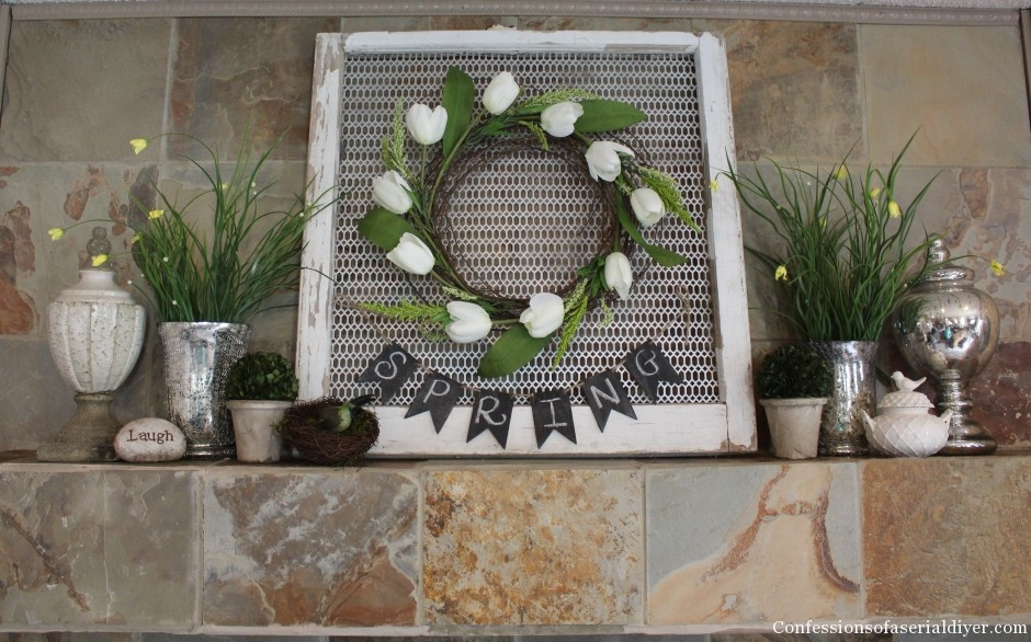 Easy Tulip Wreath Tutorial and a Spring Mantel