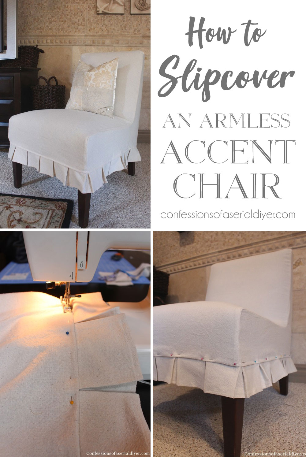 How to Slipcover an Armless Accent Chair