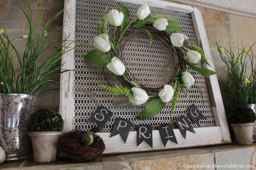 Easy Tulip Wreath and a Fresh Spring Mantel