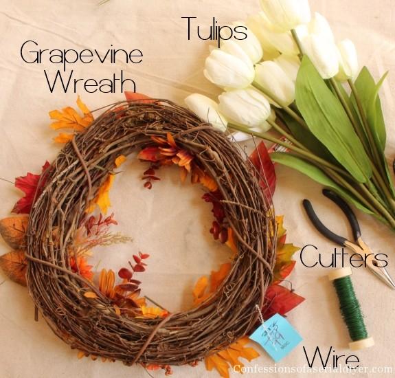 Tulip Wreath and Spring Mantel 10