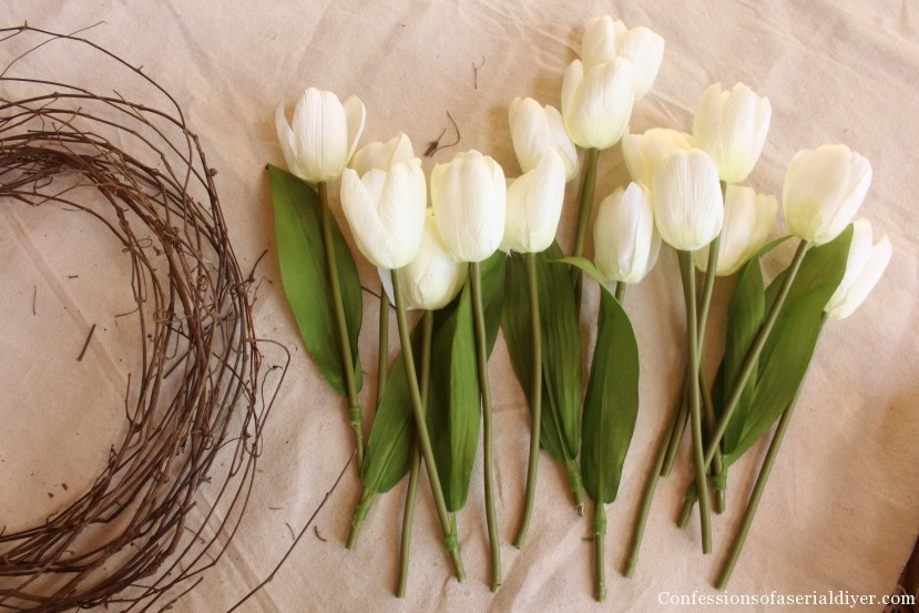 Tulip Wreath and Spring Mantel 12