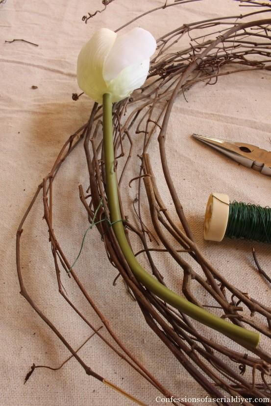 Tulip Wreath and Spring Mantel 13