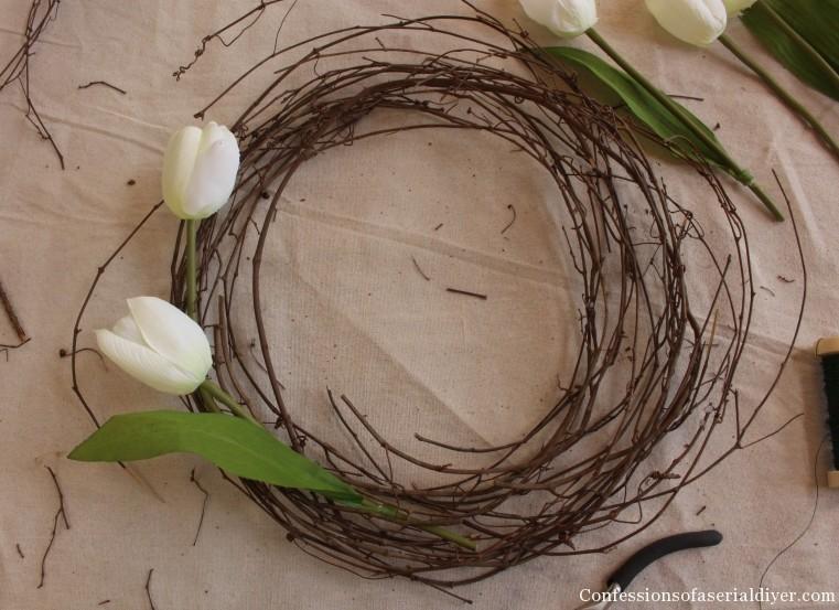 Tulip Wreath and Spring Mantel 14