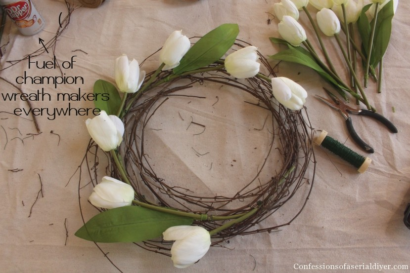 Tulip Wreath and Spring Mantel 15