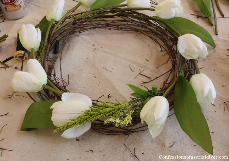 Tulip Wreath and Spring Mantel 17