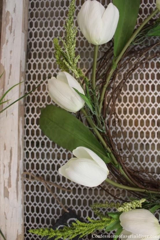 Tulip Wreath and Spring Mantel 2