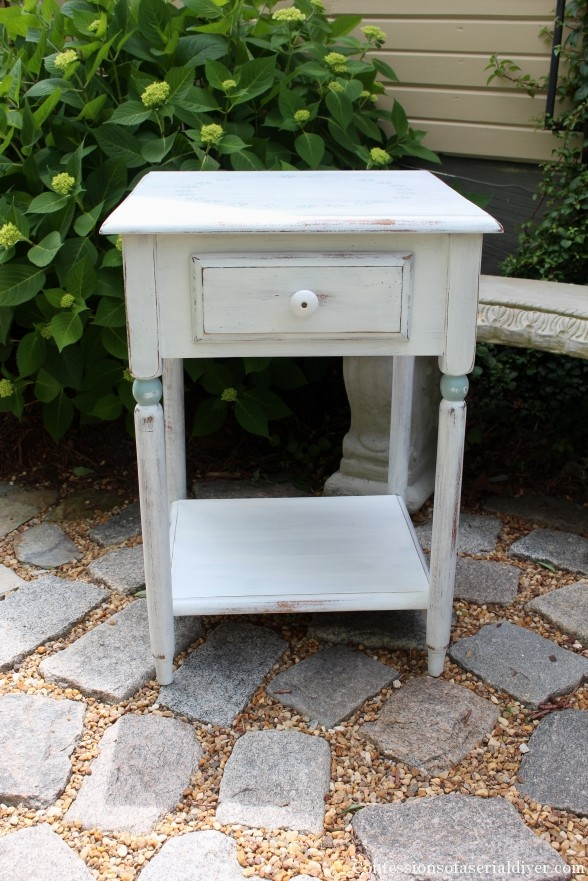 Side Table in MMS Ironstone with Stenciled Side Table