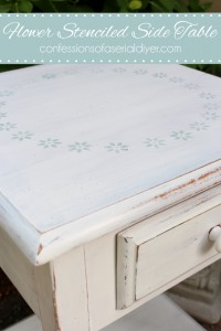 Flower Stenciled Side Table