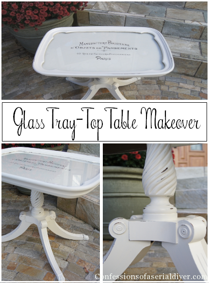 Glass Tray Top Table Makeover with French Graphics