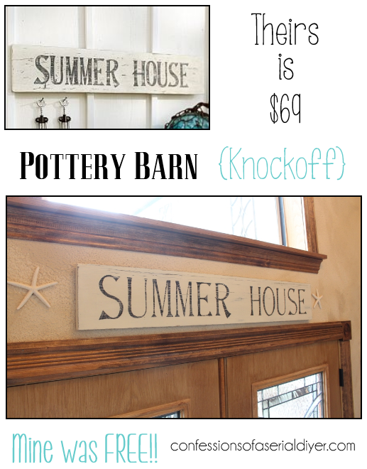 Pottery Barn Inspired Summer House Sign