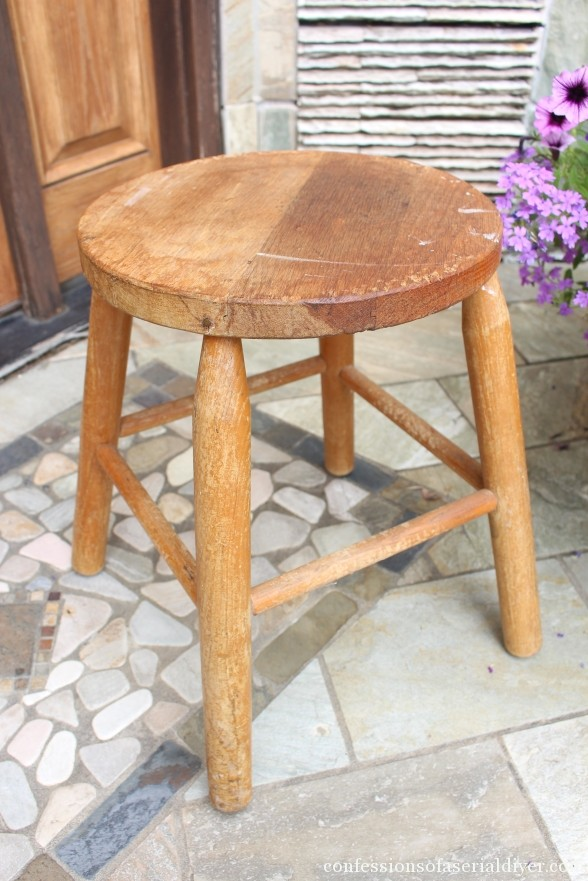 Dropcloth Rosette Trimmed Stool 1