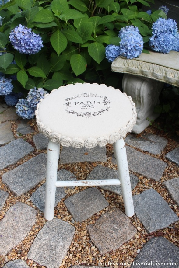 Drop Cloth Rosette Trimmed Stool