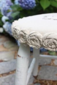 Mini Drop Cloth Rosette Stool Makeover {a $5 Yard Sale Find}