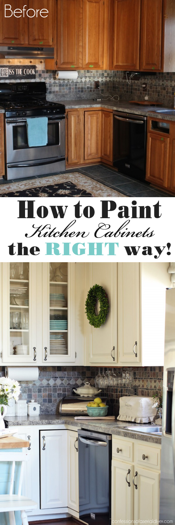 Diy Painted Kitchen Cabinets Before And After how to paint kitchen cabinets (a step-by-step guide) | confessions