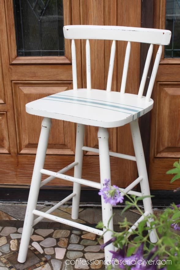 Grain Sack Inspired Bar Chair Makeover