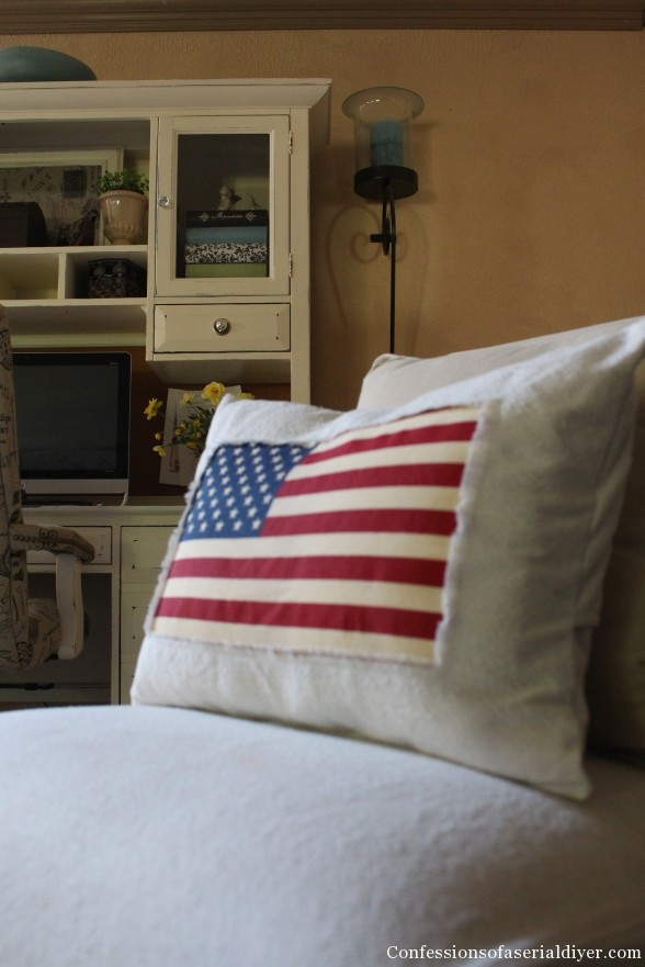 Patriotic pillow made from drop-cloth and a $1.99 flag