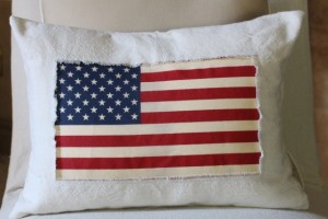 Patriotic Drop Cloth Pillow