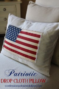 Patriotic pillow from drop cloth and a $1.99 flag