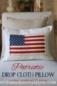 Patriotic Drop Cloth PIllow