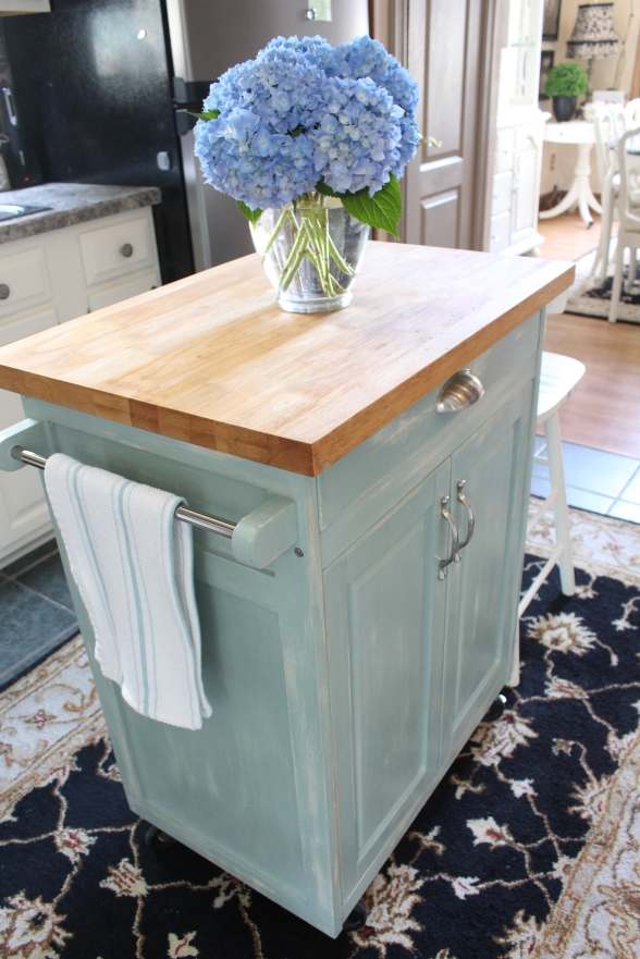 Rolling Kitchen Cart in Duck Egg Blue and Old White Mixed