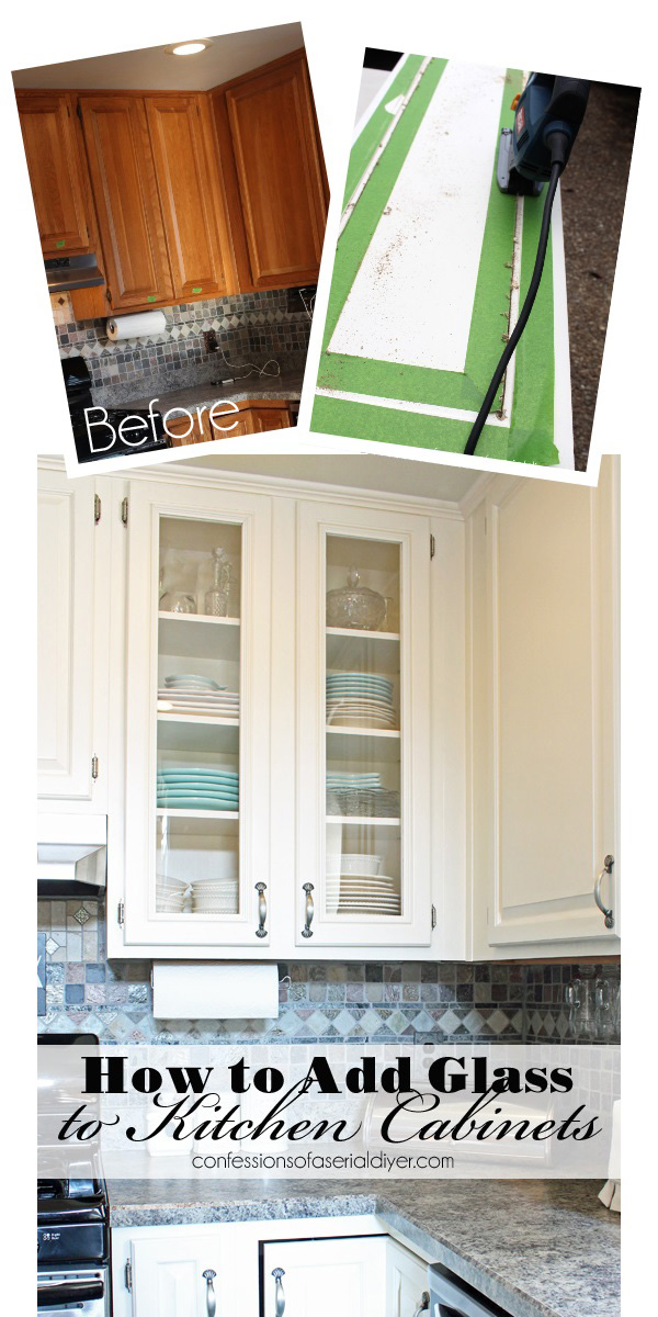How to replace cabinet panels with glass from Confessions of a Serial Do-it-Yourselfer