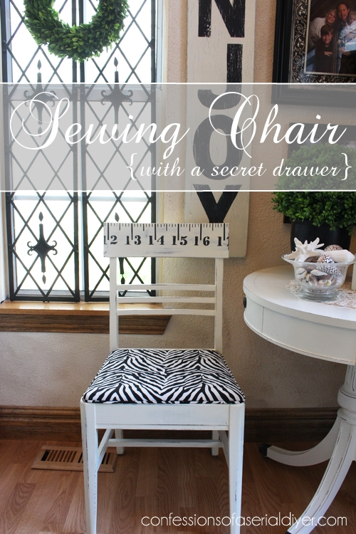 Love this sewing chair. It was a cool yard sale find with a secret hidden drawer!
