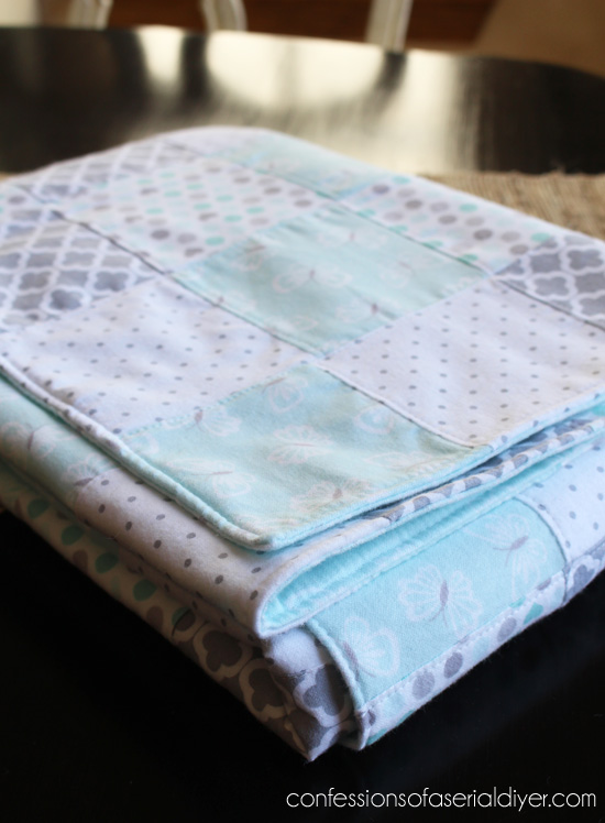 Quilt made from receiving blankets