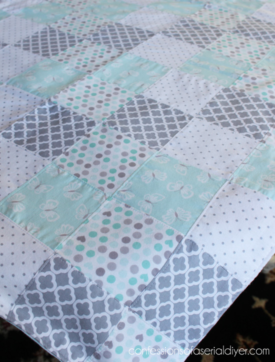 Baby quilt from flannel receiving blankets