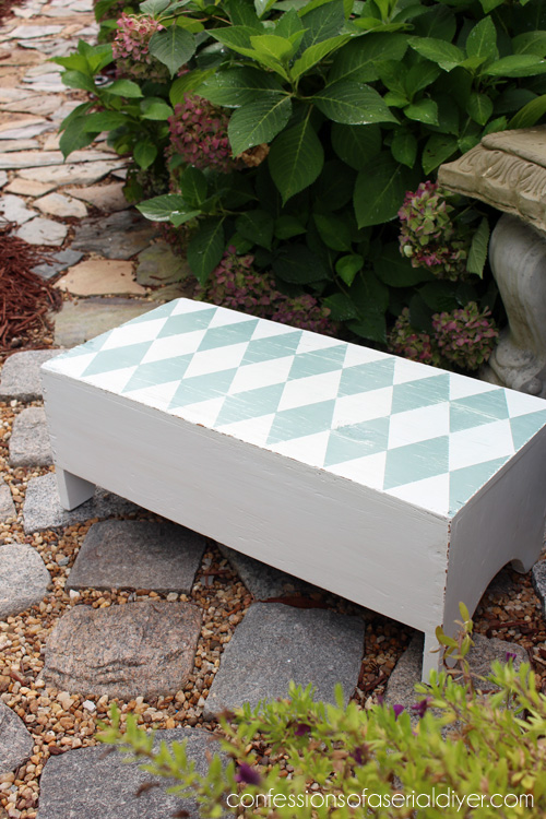 Harlequin painted bench including how to get the perfect harlequin pattern