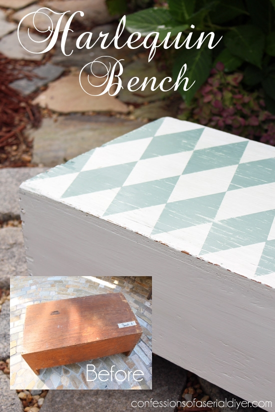 Harlequin Bench {Including howto create the perfect harlequin pattern}
