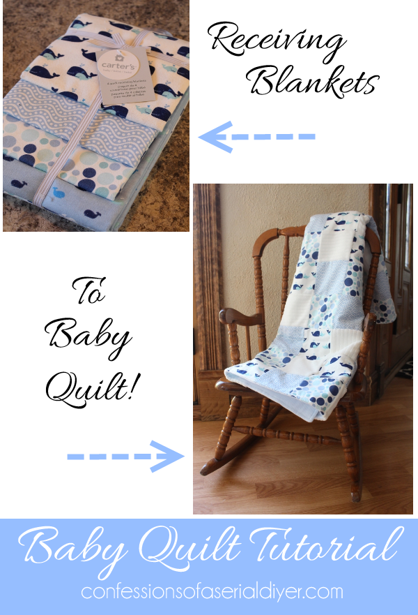 Receiving Blanket QUilt. ALl the fabrics in a pack of receiving blankets are perfectly coordianted to make the perfect baby quilt!