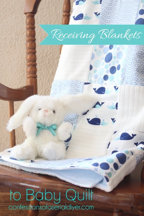 How to make a baby quilt from receiving blankets