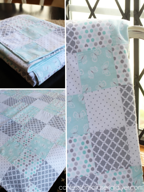 Baby Quilt made from receiving blankets