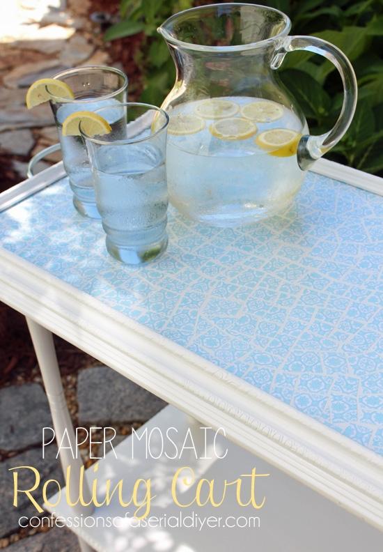 Decoupaged Paper Mosaic Rolling Cart