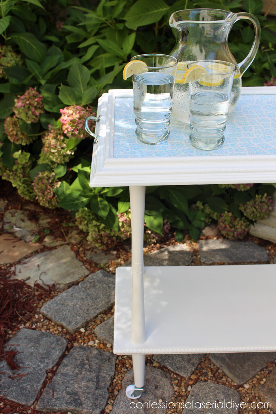 Decoupaged Paper Mosaic Rolling Cart