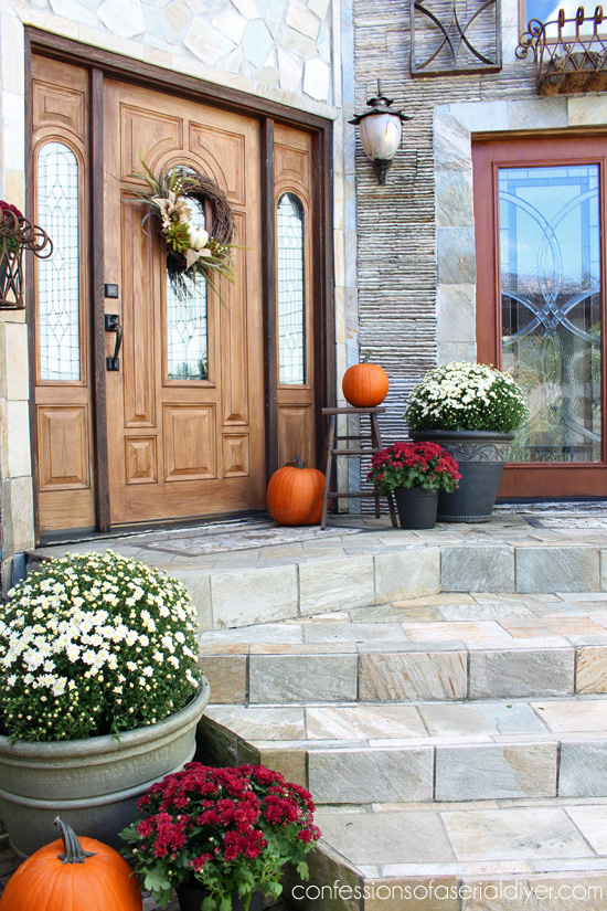 Fall front porch and wreath tutorial