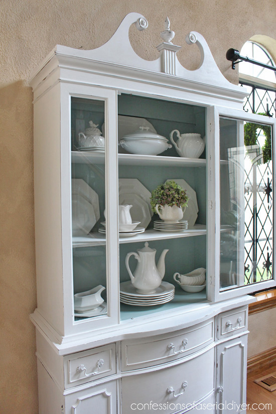 Duck Egg Blue and White Chalk Painted China Cabinet